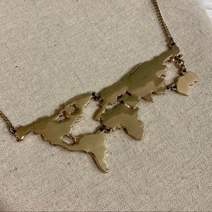 Gold World Map Necklace